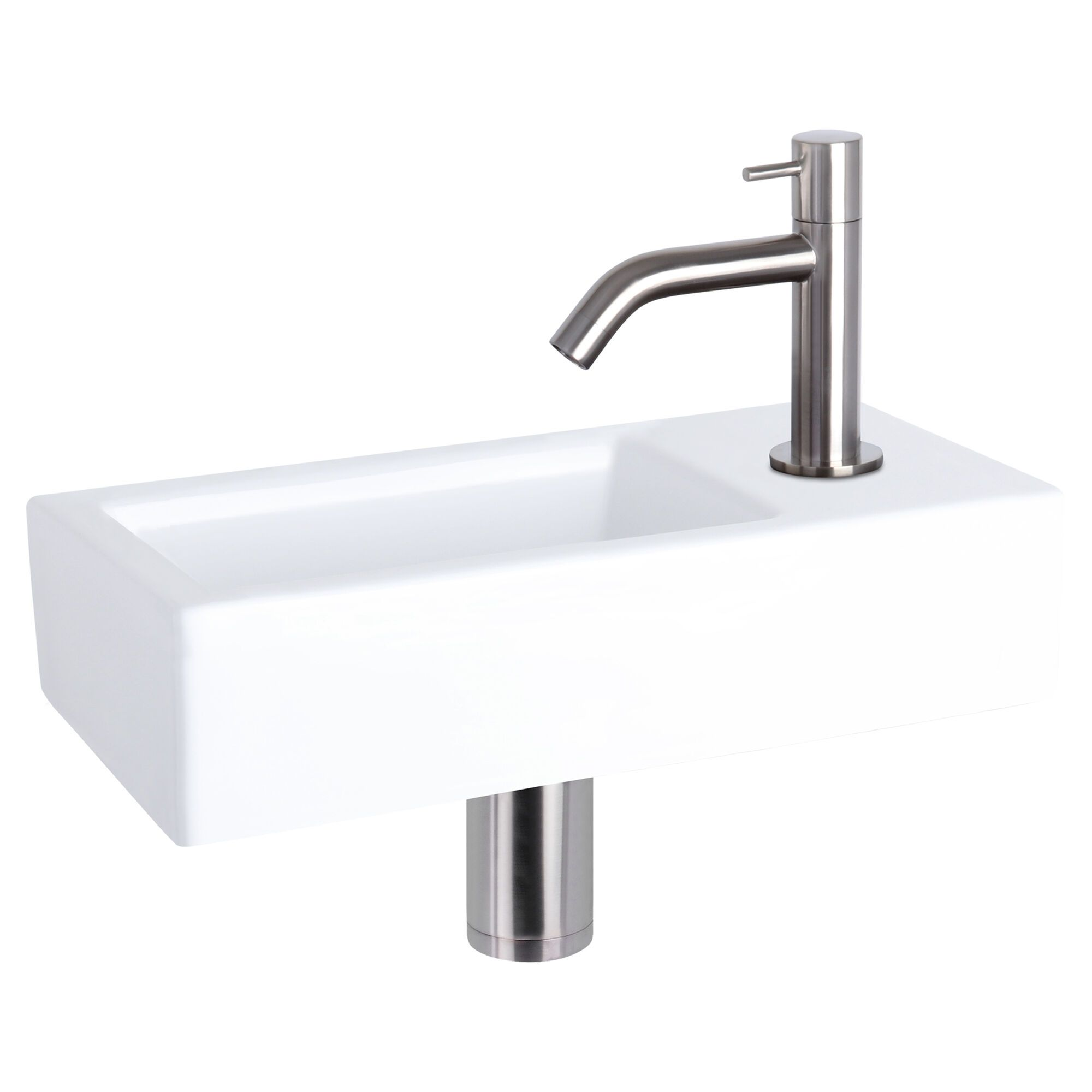 WC Fontein Hura Gebogen Kraan | Fonteinset Mat Wit met Chroom | Wastafel WC