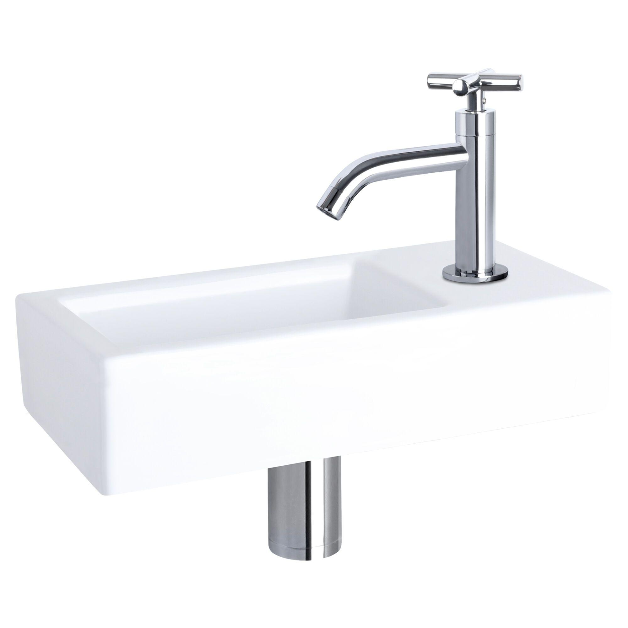 WC Fontein Hura Gebogen Kraan | Fonteinset Wit met Chroom | Wastafel WC