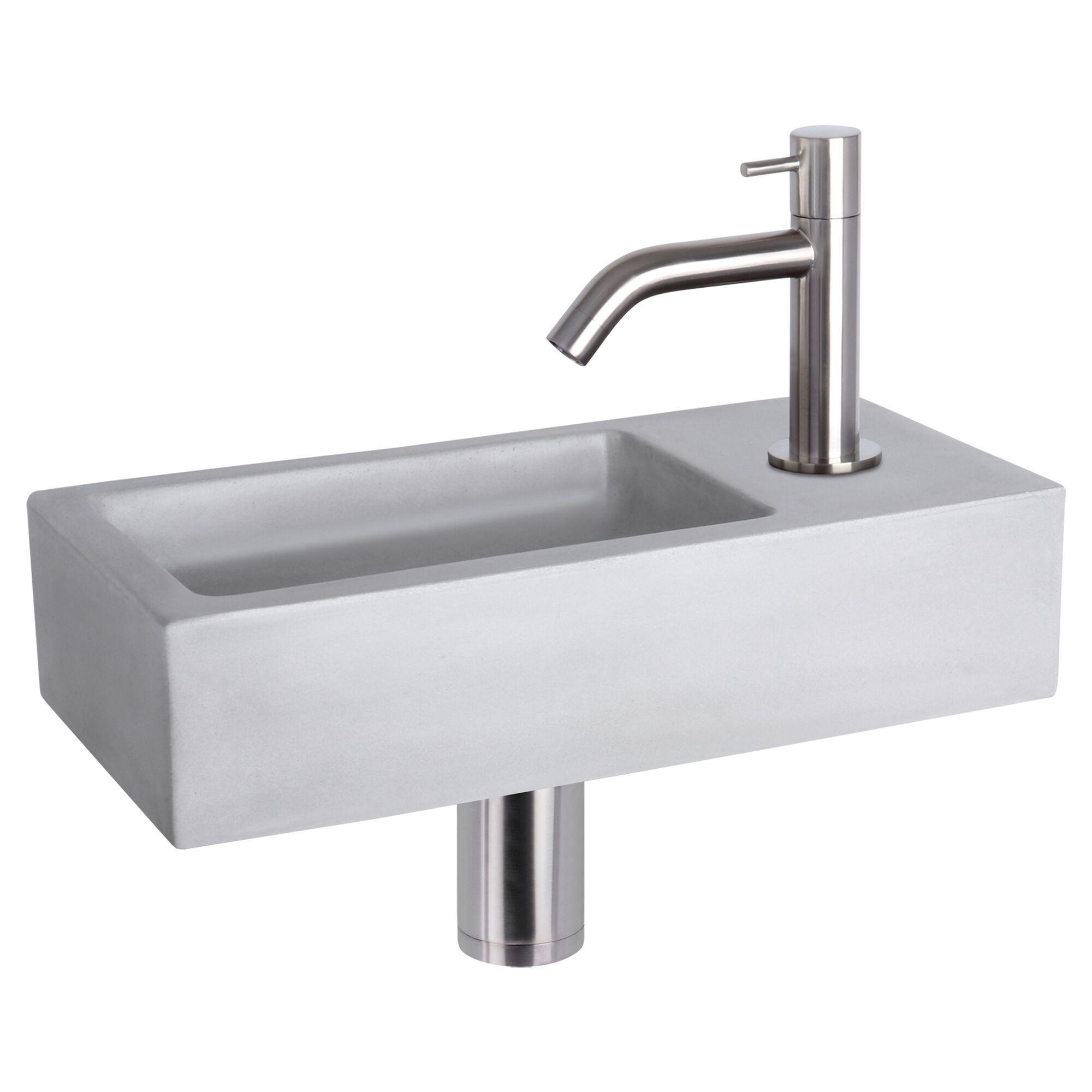 WC Fontein Ravo Gebogen Kraan | Fonteinset Beton met Chroom | Betonnen Wastafel