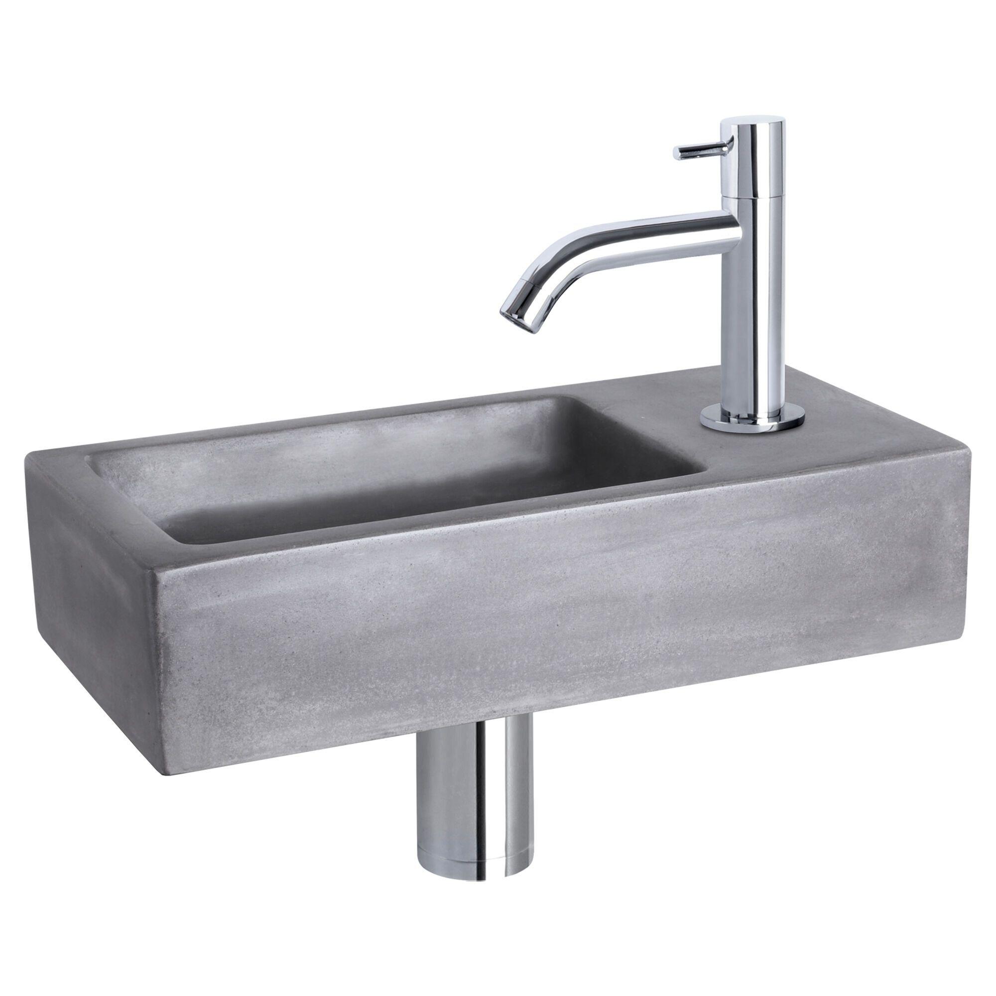 WC Fontein Hura Gebogen Kraan | Fonteinset Beton met Chroom | Betonnen Wastafel