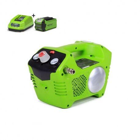 Greenworks G24ACK2 Accu compressor | 24 Volt compressor met 2 liter tank met 2Ah accu en lader