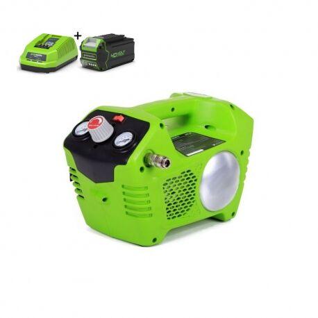 Greenworks G40ACK4 Accu compressor | 40 Volt compressor met 2 liter tank met 4Ah accu en lader