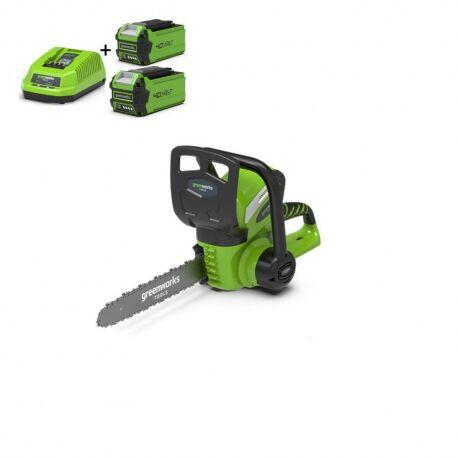 Greenworks G40CS30K2X Draadloze kettingzaag met 2x2Ah accu en lader | G-max 40 Volt | 30cm