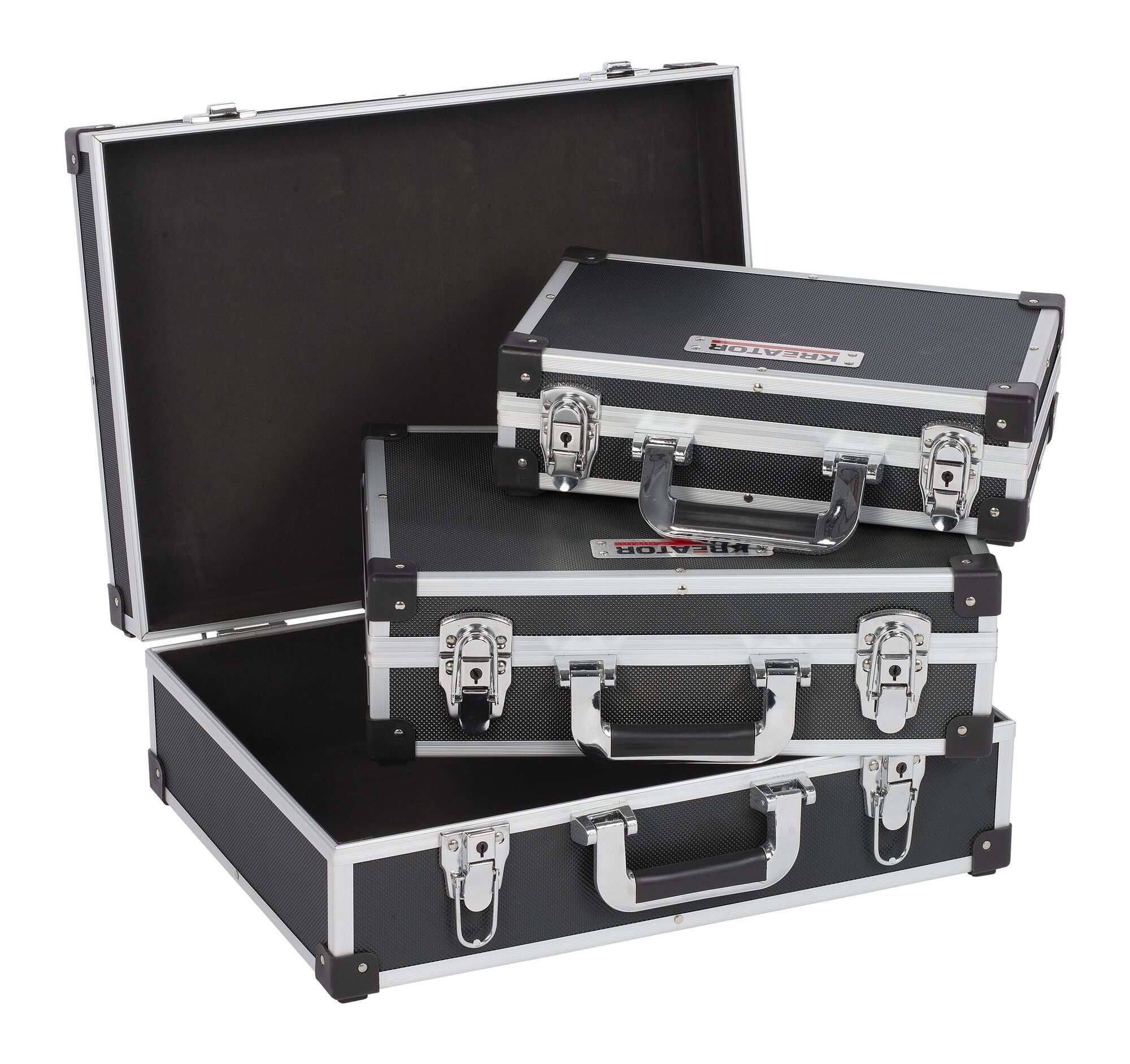 Kreator KRT640401B Aluminium opbergkoffers | Set zwarte koffers | 3 in 1