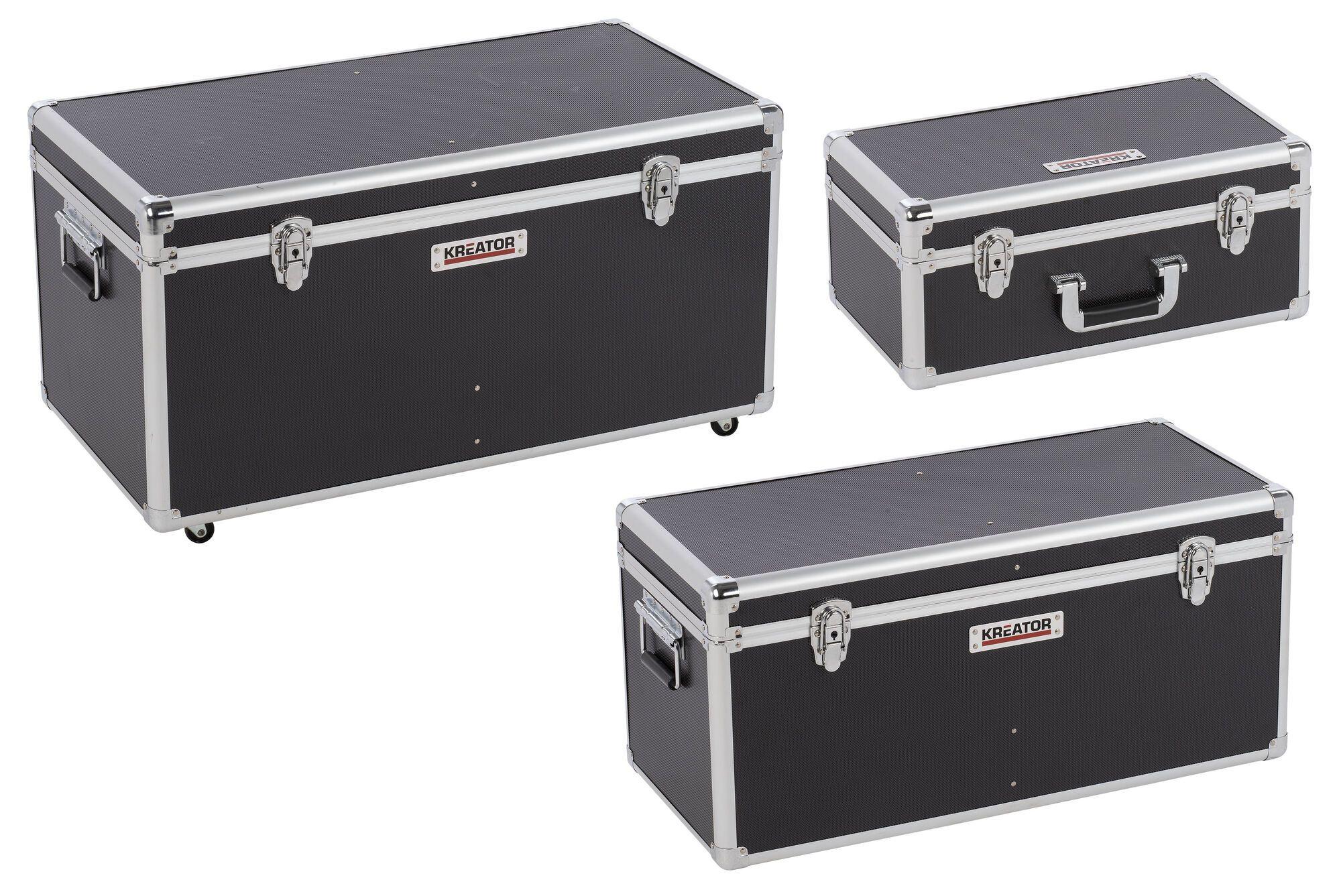 Kreator KRT640501B Aluminium opbergkoffers | Set zwarte koffers | 3 in 1