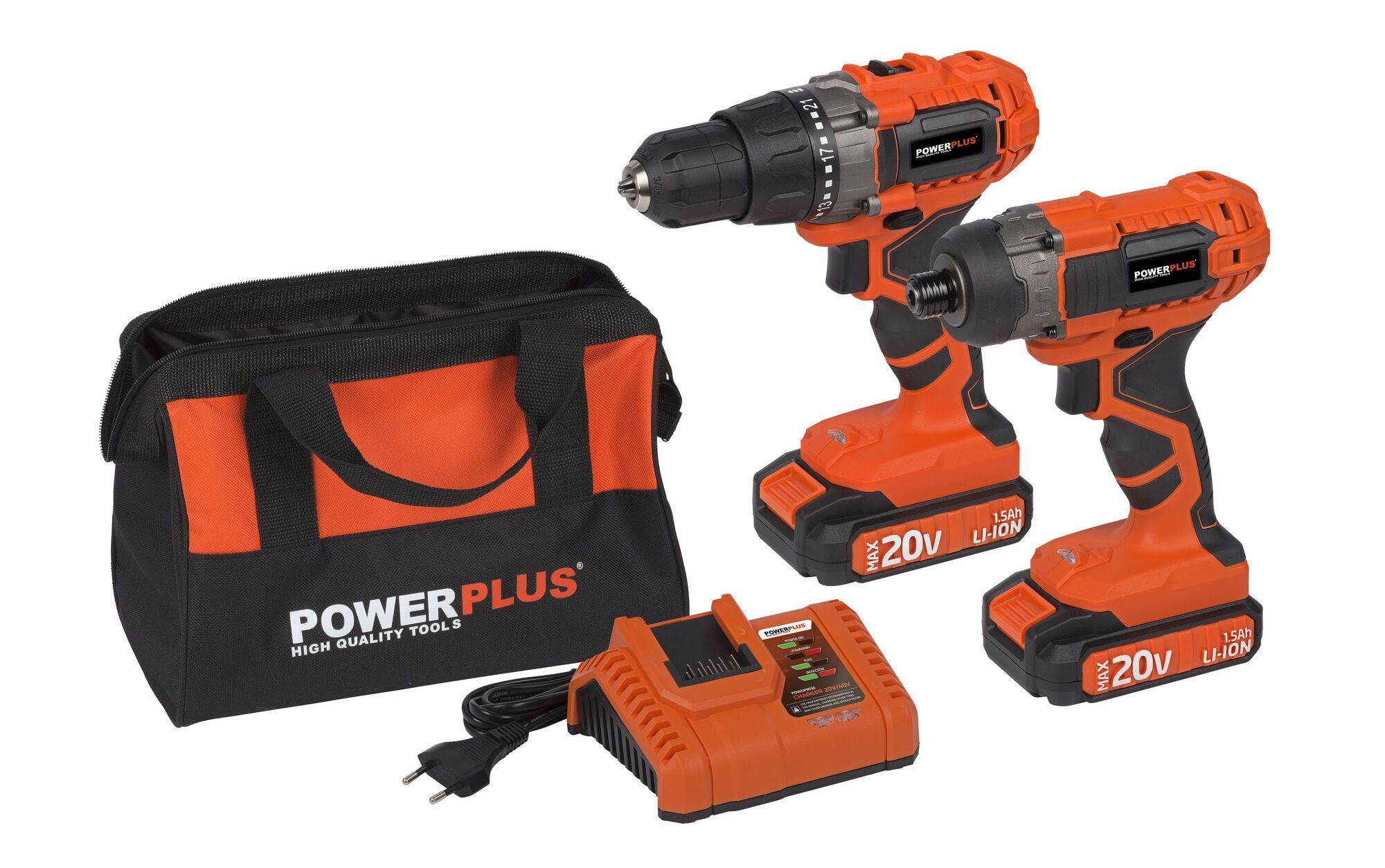 Powerplus POWDP1550 Slagschroevendraaier + Accuboormachine | Inclusief 2 Accu's + Lader + Opbergtas