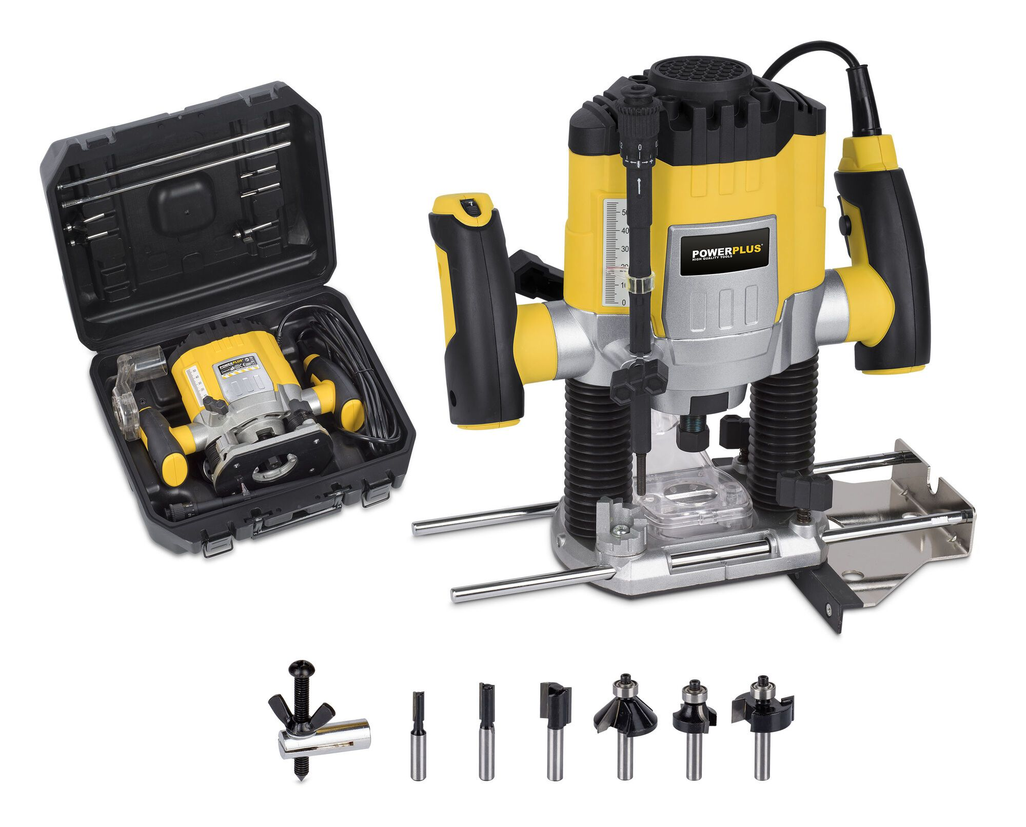 Powerplus POWX0910 Bovenfrees 1200W met 6 frezen | Bovenfreesmachine 6 + 8 mm (freesmachine)