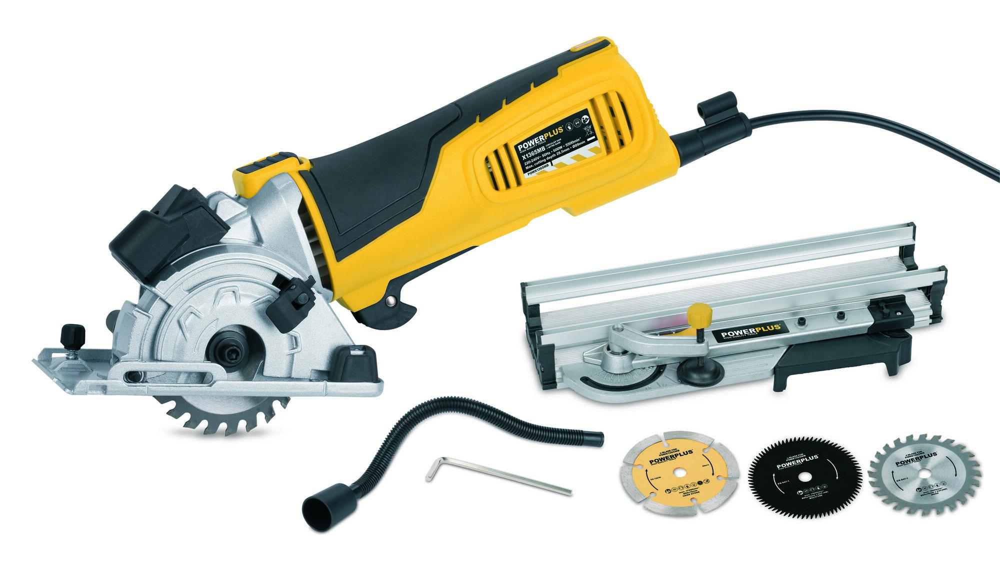 Powerplus POWX1365MB Cirkelzaag met verstekbak 600W   Cirkelzaagmachine D89mm