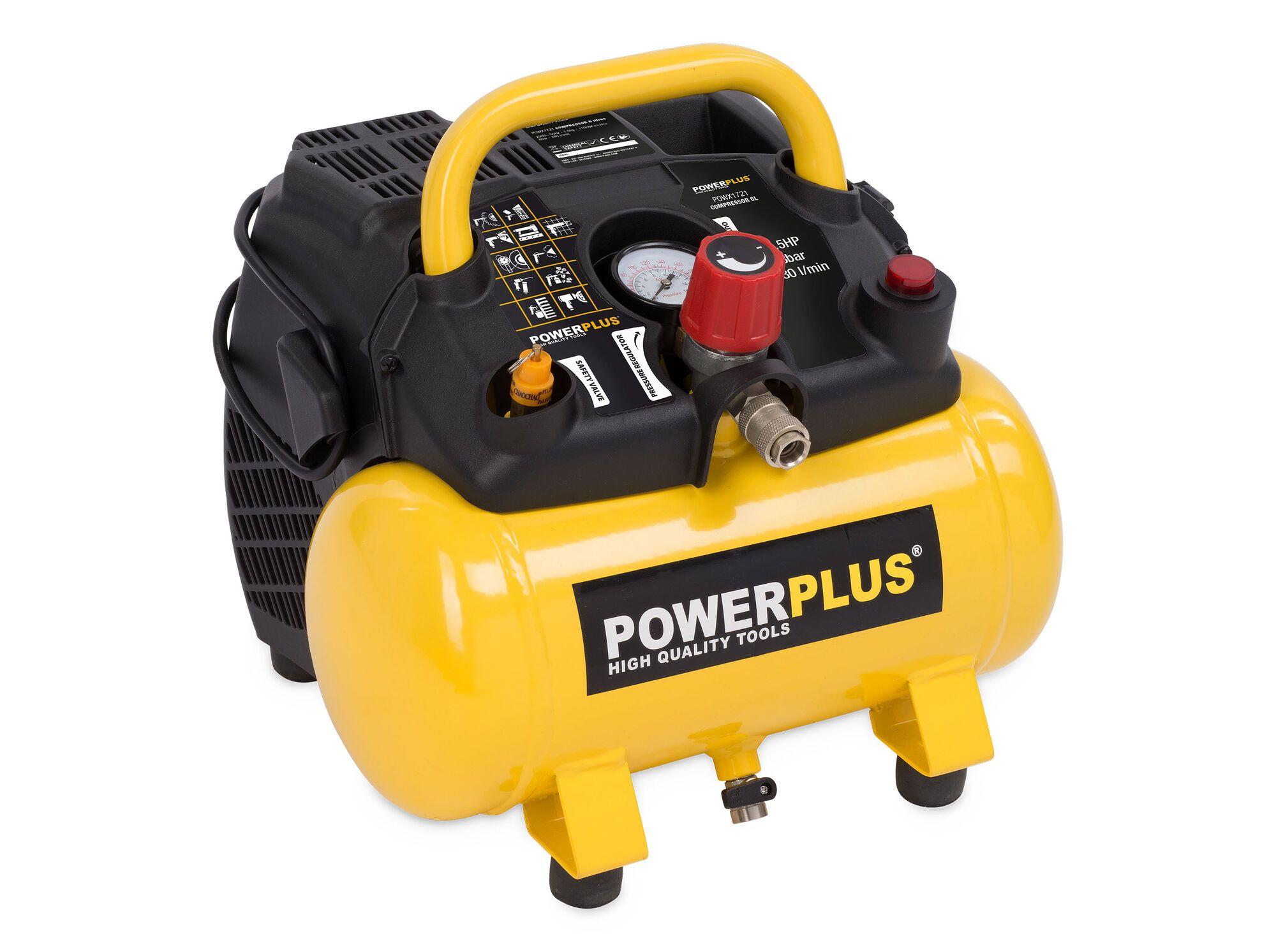Powerplus POWX1721 Draagbare 1100W olievrije compressor met 6 liter tank