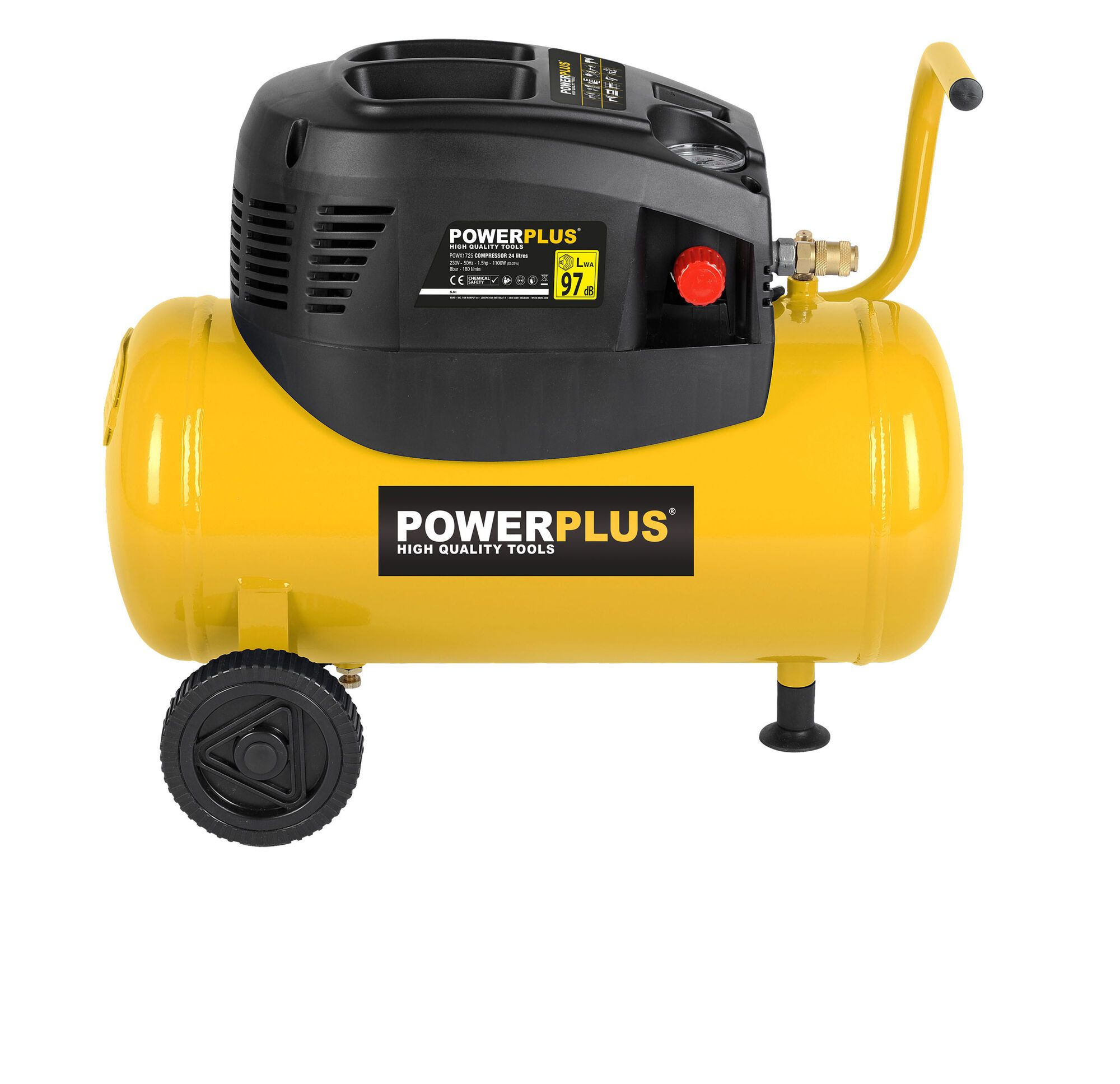 Powerplus POWX1725 Mobiele 1100W olievrije compressor met 24 liter tank