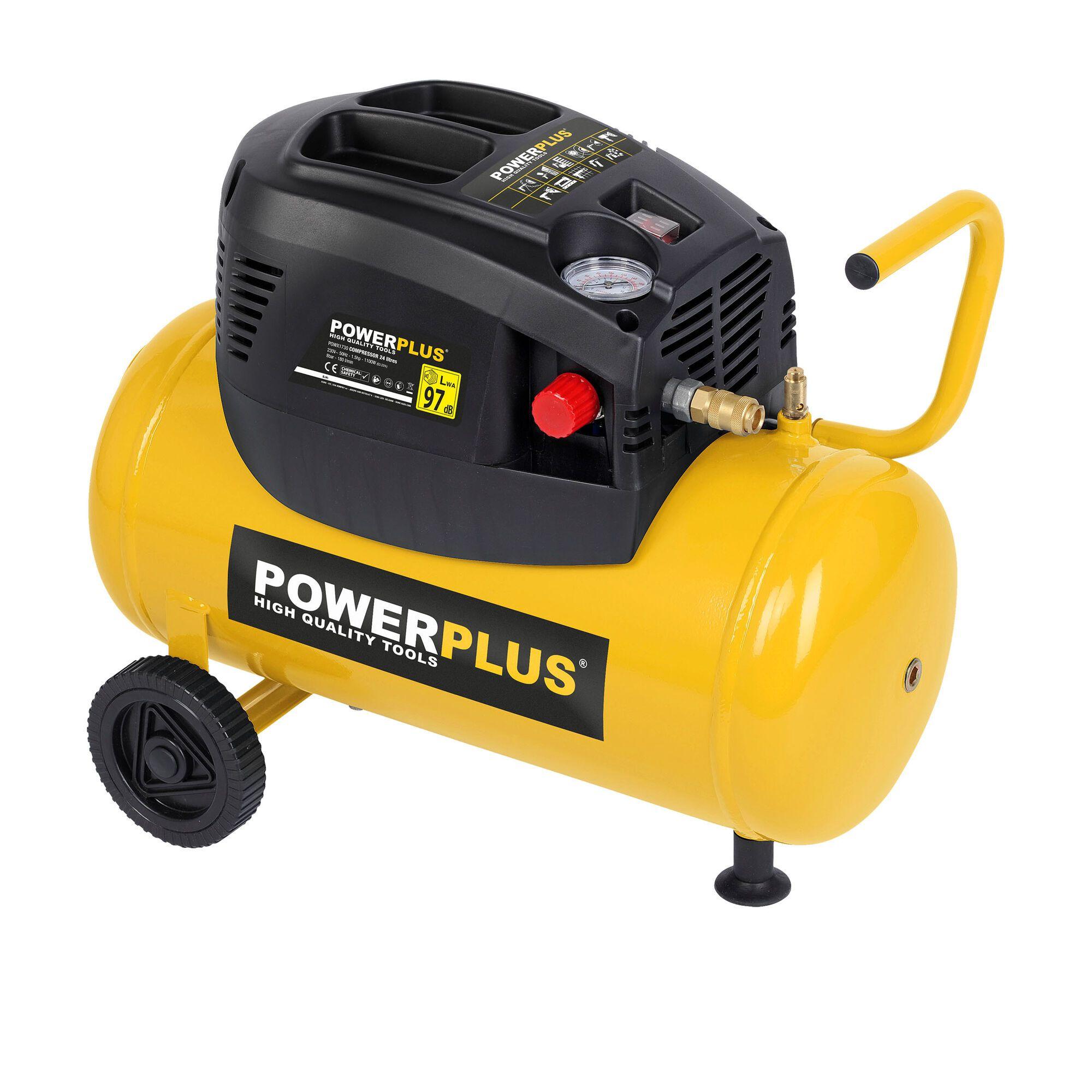 Powerplus POWX1730 Mobiele 1100W olievrije compressor met 24 liter tank (compressoren)