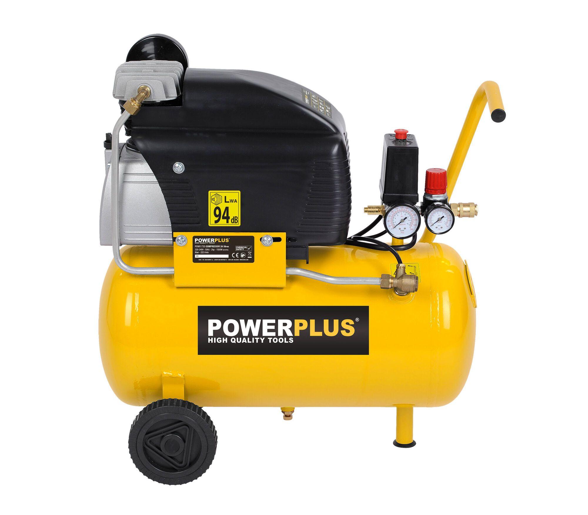 Powerplus POWX1735 1500W Mobiele compressor met 24 liter tank (compressoren)