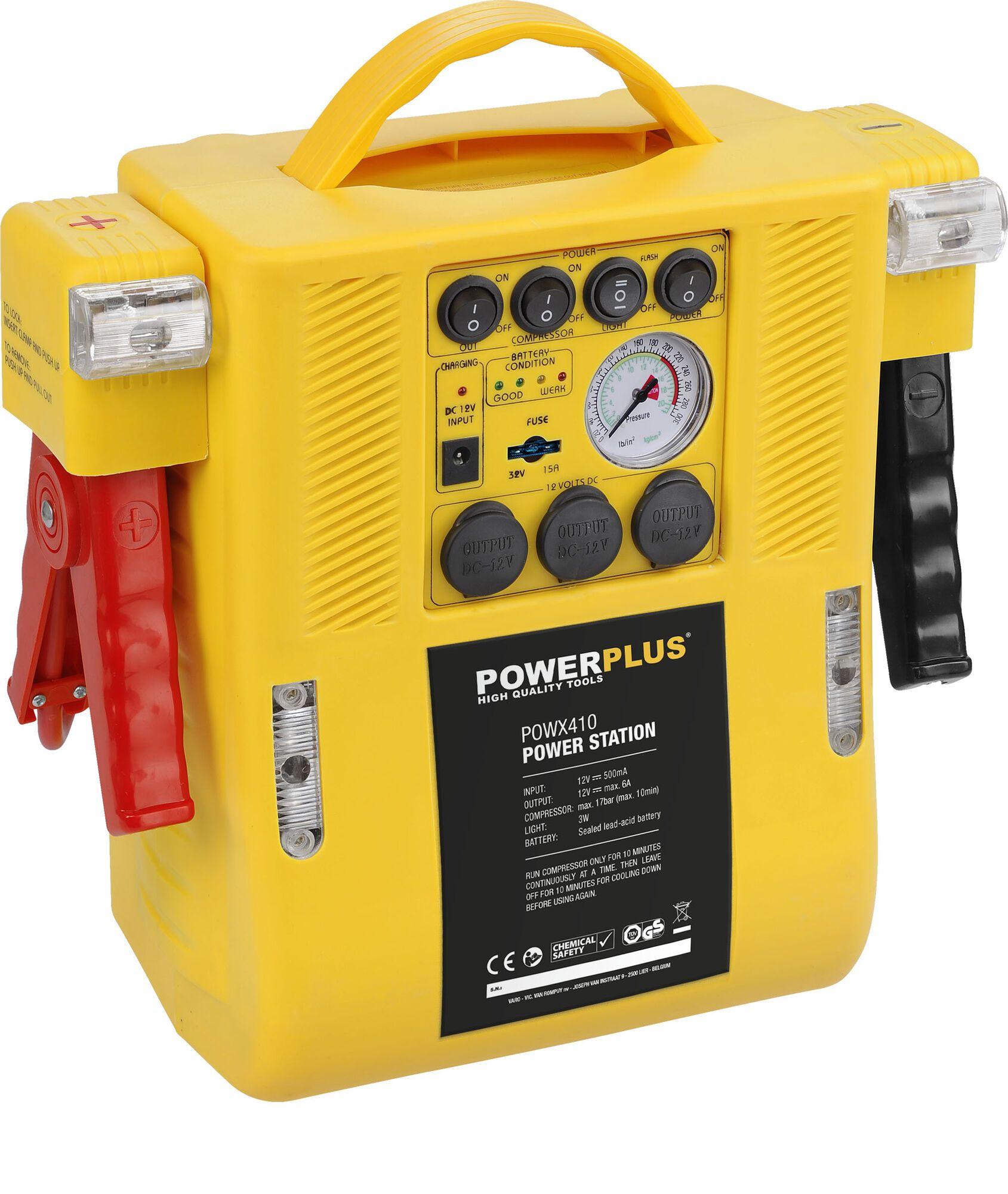Powerplus POWX410 Energiestation | Compressor | Jumpstarter | Starthulp 4-in-1 (energiestation)